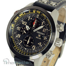SEIKO PROSPEX SOLAR PILOT CHRONOGRAPH BLACK CALF LEATHER STRAP SSC423P1