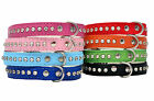 Real LEATHER DOG PUPPY CAT KITTEN COLLARS Bling Crystal Diamante Rhinestone