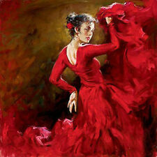 Huge Oil painting female portrait young girl - Crimson Dancer dancing canvas