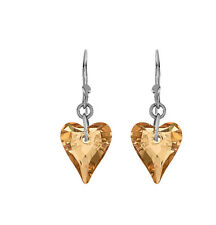 Simulated Champagne Crystal Heart Earrings In Sterling Silver