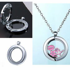 Silver Living Memory Glass Round Floating Charms Locket Pendant Necklace Lovely