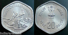 India Indien Inde Fisheries Fish Hyderabad Mint New 20 Paise Coin UNC 1983