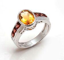 Solid 925 Sterling Silver Natural Gem Stone Citrine & Garnet Men's Ring Size 8 9