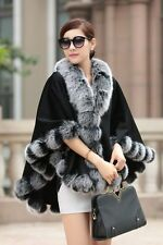 Opulent/Lady Real Cashmere Real Fox Fur Cloak poncho/Coat/Wraps/Cape/black gray