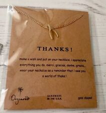"""Dogeared""""Thanks!"""" Teeny Wishbone Necklace, Gold Dipped 16"""""""