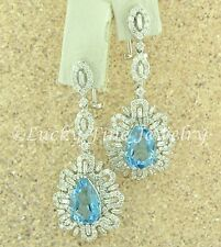 18k Solid White Gold Natural Diamond & pear Blue topaz Earring 11.86 ct dangling