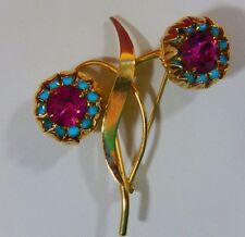 VINTAGE UNSIGNED CINER MAGENTA RHINESTONE FAUX TURQUOISE DBLE FLOWER BROOCH PIN