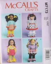 "18"" GIRL DOLL CLOTHES McCall's Sewing Pattern 7173  American Made NEW"