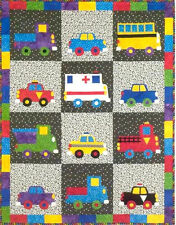 ~ NEW PATTERN ~  KIDS QUILT ~ BRIGHT COLORFUL WHEELS ~