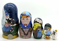 Russian 5 nesting dolls Mother Goose Humpty Dumpty Cat and Fiddle nursery rhyme