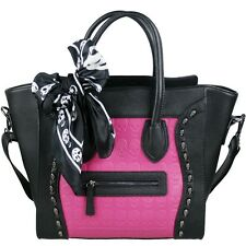 BLACK AND PINK LEATHER LOOK DESIGNER SKULL STUD TOTE BAG HANDBAG FREE SCARF