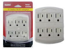 6 Outlet Wall Adapter Grounded Indoor AC Power Home Wall Tap Adapter NEW