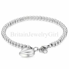Charm Womens Heart Dangle Stainless Steel Bangle Chain Bracelet 7.1', Mom's Gift