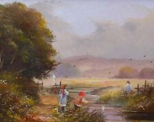 Ted Dyer Original Oil Painting - Children Playing Near Glastonbury Tor Somerset
