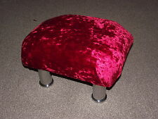 Superb red crushed velvet small footstool with chrome metal legs foot stool