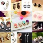 Women Pearl Crystal Rhinestone Earrings Silver Plated Ear Stud Fashion Jewelry