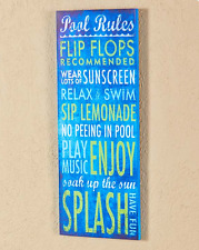 Yard Signs Wood Outdoor Wall Art Decor Swimming Pool Rules Patio Porch Plaques
