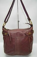 Fossil Long Live Vintage Leather Whip-stitched Top Zip Crossbody Bag Burgundy