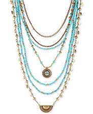 NWT Lucky Brand Gold-Tone and Blue Stone Multi-Layer Statement Necklace JLRY6015