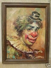 Original Clown Oil Canvas Painting by Listed French Artist William W. Moninet