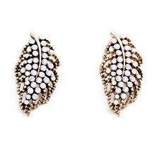 Occident Fashion Retro Bronze Metal Hollow Out Leaf Resin Statement Stud Earring