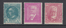 France Sc 291-293 MLH. 1933 Famous French Authors, cplt set.