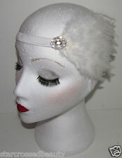 White Great Gatsby Feather Diamante Headpiece Headband 1920s Flapper Vintage h55