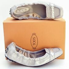 TOD'S New sz 39 - 9 Auth Designer Womens Ballerina Ballet Flats Shoes silver
