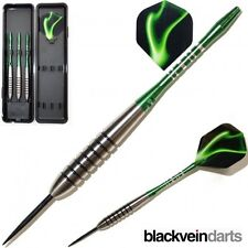 19G GREEN PANTHERS TUNGSTEN DARTS SET. Green Aluminium Stems + Flights + Case