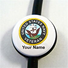 ID STETHOSCOPE NAME TAG US NAVY VETERAN, MEDICAL,RN,MILITARY,TECH,MEDIC,ER