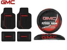 5 PC GMC Elite Front/Rear Rubber Floor Mats With Steering Wheel Cover Fast Ship