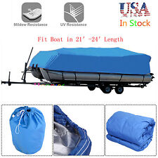 21 22 23 24Ft Trailerable Waterproof Pontoon Boat Cover Bass Trailerable Blue BP