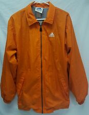 ADIDAS MENS ATHLETIC WIND BREAKER ZIP UP HOODED LINED JACKET SIZE MEDIUM ORANGE