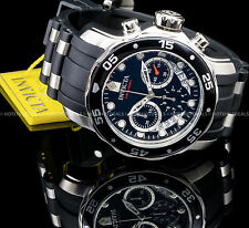 Invicta 48mm Pro Diver Scuba Swiss ISA Chronograph Black Dial Silver SS PU Watch