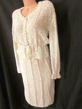 Vintage PALLAS Hand-Loomed Crochet Irish Linen 2-Piece Dress Sz L / XL