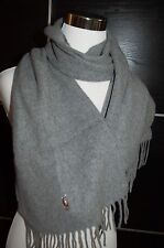 NEW Polo Ralph Lauren Men's Grey Wool Scarf, Made in Italy