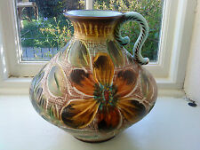 Vintage H. Bequet Quaregnon Belgian handled Vase or water jug Pottery Majolica