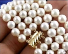 """17""""-19"""" 3 Rows 8-9mm NATURAL AKOYA WHITE PEARL NECKLACE 14K Gold Clasp"""