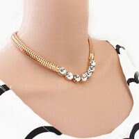 Crystal Flower Bib Statement Necklace Chunky Choker Collar Pendant Chain