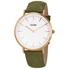 Cluse La Boheme White Dial Olive Green Leather Ladies Watch CL18023