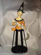 20567 HTF Trick or Treat Cage Witch with Pumpkin Moon Nicol Sayre ESC Folk Art