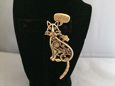 """VTG. AJC RARE WIND UP MECHANICAL KITTY CAT ARTICULATED TAIL """"PURR"""" GEARS BROOCH"""