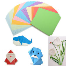 100X Origami Folded Paper Square Paper Coloured Sheets Craft DIY Tools OZ