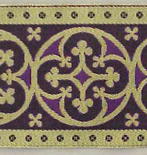 "Very Wide Jacquard Chasuble Trim Gold & Purple 3½"" Wide Vestment Lace Sewing DIY"