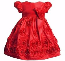 Bonnie Jean Taffeta Red Rosette Special Occasion Party Pageant Dress Girls 2Y