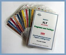 Whites XLT - Metal Detector Program Cards. Pocket Sized Waterproof. NEW