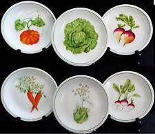 BERRY HAUTE PORCELAIN SET OF 6 SALAD OR DESSERT PLATES w/ CROWN MARK - FRANCE