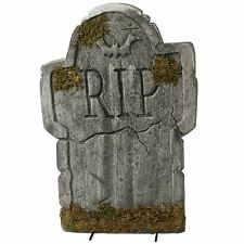 "22"" Halloween Mossy Bat Styrofoam Tombstone Gravestone Party Decoration Prop"