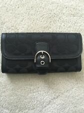 Coach Soho Signature Leather Buckle Slim Envelope Wallet F 47702 Black
