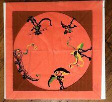 1940s Halloween Paper Napkin w/ Black Cat and Pumpkin Creatures